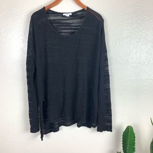 HELMUT LANG Destroyed Boucle Knit Pullover Sweater